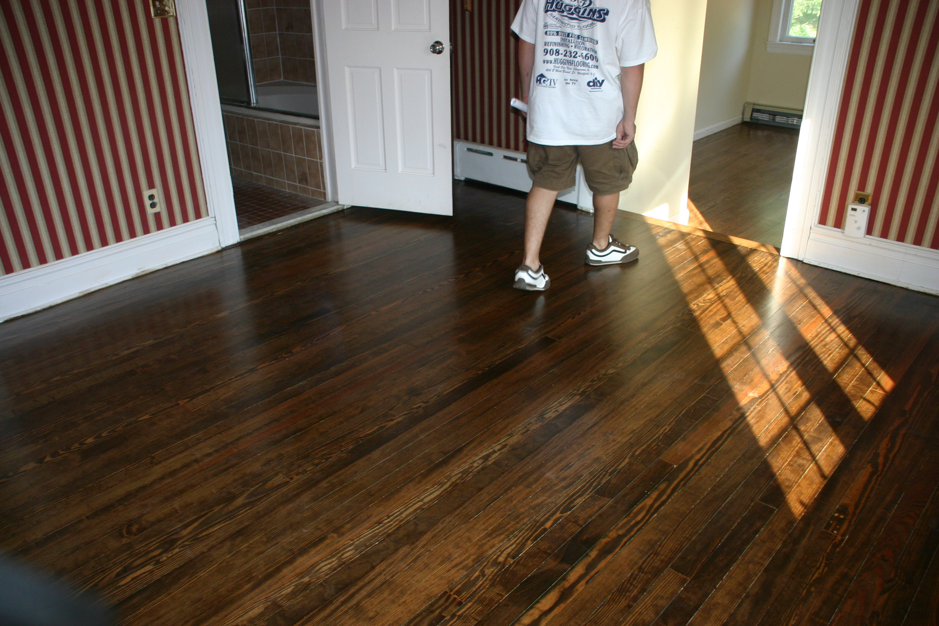 Dark Walnut Color on Hardwood Floors and Stairs - YouTube